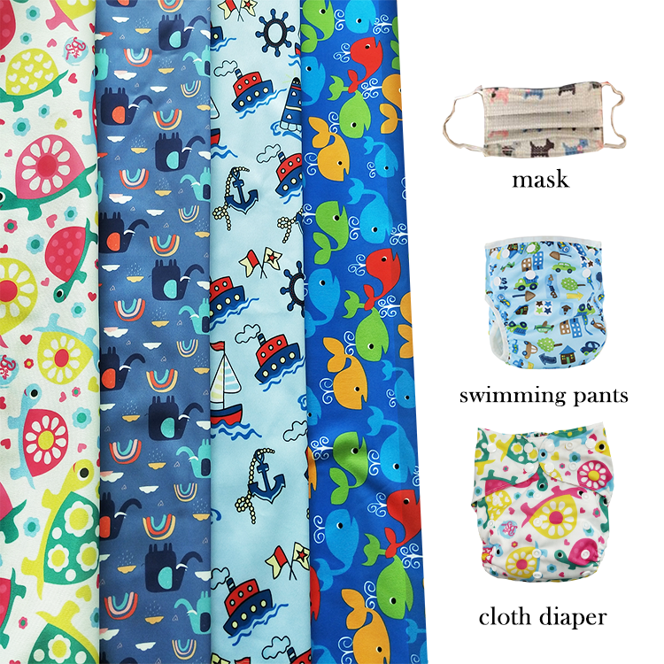 2020 New patterns Waterproof PUL print fabric Cloth Diapers TPU fabric cloth manufacturer by China