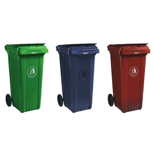 Manufacturer 120L Mobile Outdoor Plastic Dustbin With Wheels Rectangular Waste Bin
