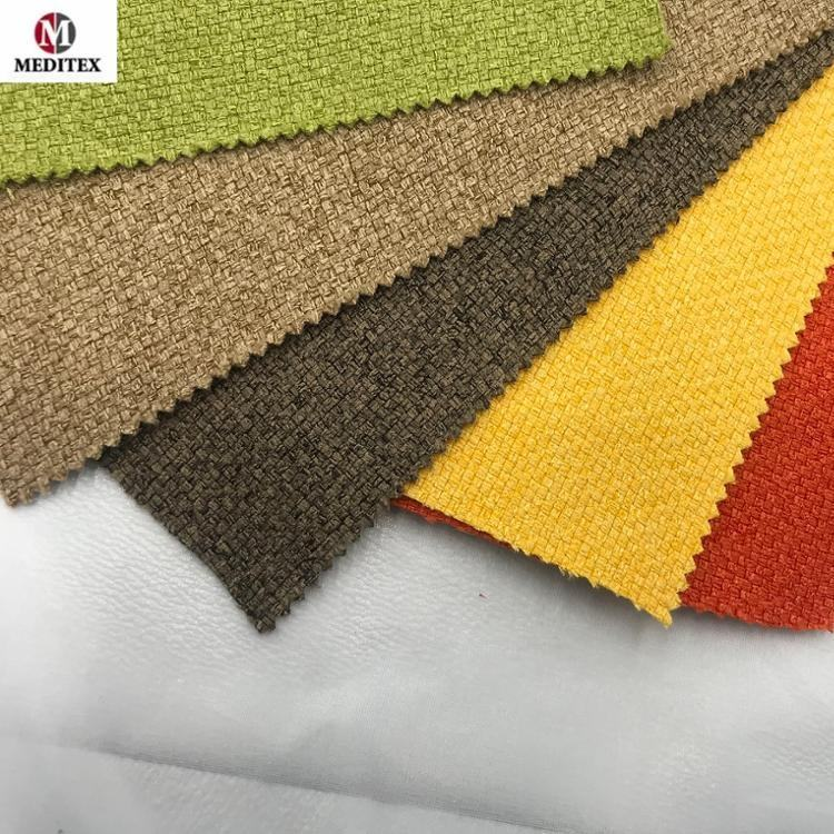 2019 hotsale 100% polyester linen sofa fabric/furniture fabric/linen look fabric for sofa