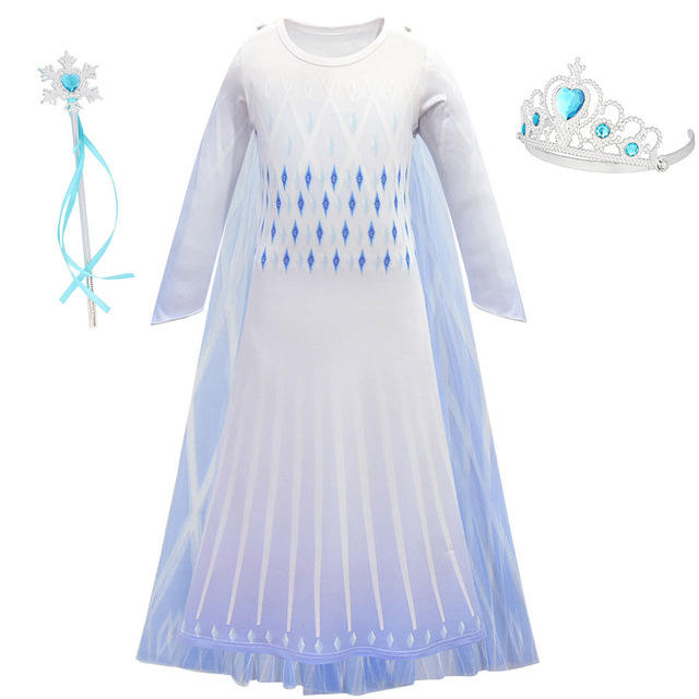 Elsa Movie 2 Ending Costume for Kids Snow Queen Cosplay Dress Girls White Version Princess Elsa Party Carnival Halloween Costume