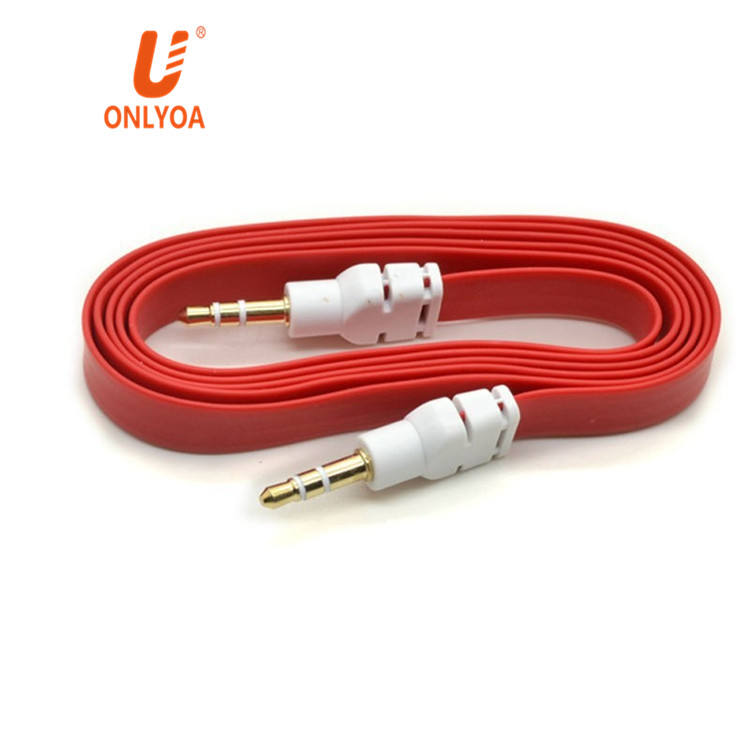 ONLYOA New Colorful 3.5mm stereo audio Auxiliary cable 3.5mm male to male with speaker cable Flat Audio Music car aux cord