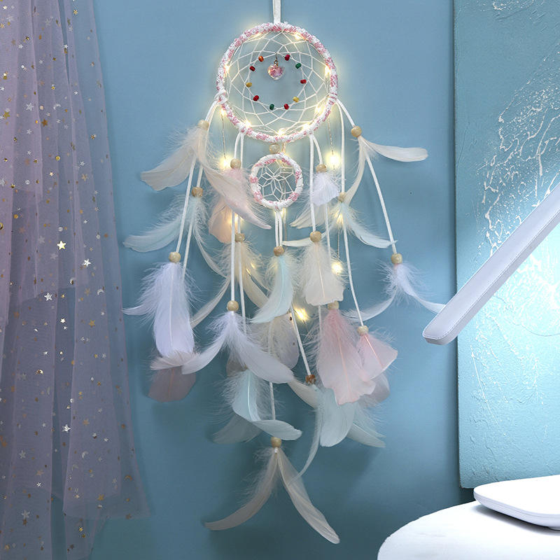 Reliable Purchase Agent Fashion Home Decoration Girl's Room White Feather LED India Dream Catcher