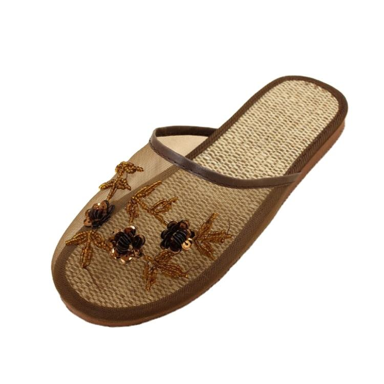 Women Chinese Mesh Sequin Floral Slippers