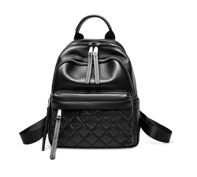 Custom ODM/OEM high Quality women black plain leather backpack made in China