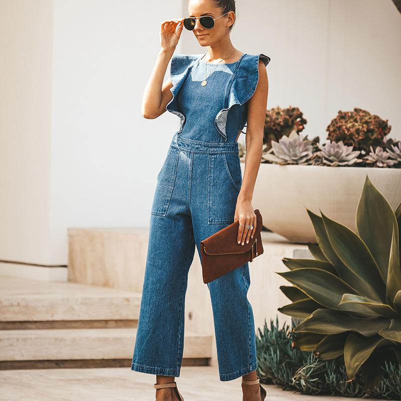 Fashion 2020 Summer New Style Elegant Lace-up Chalaza Backless Ruffled Loose One-piece Jeans Suit for Women Daily Wear