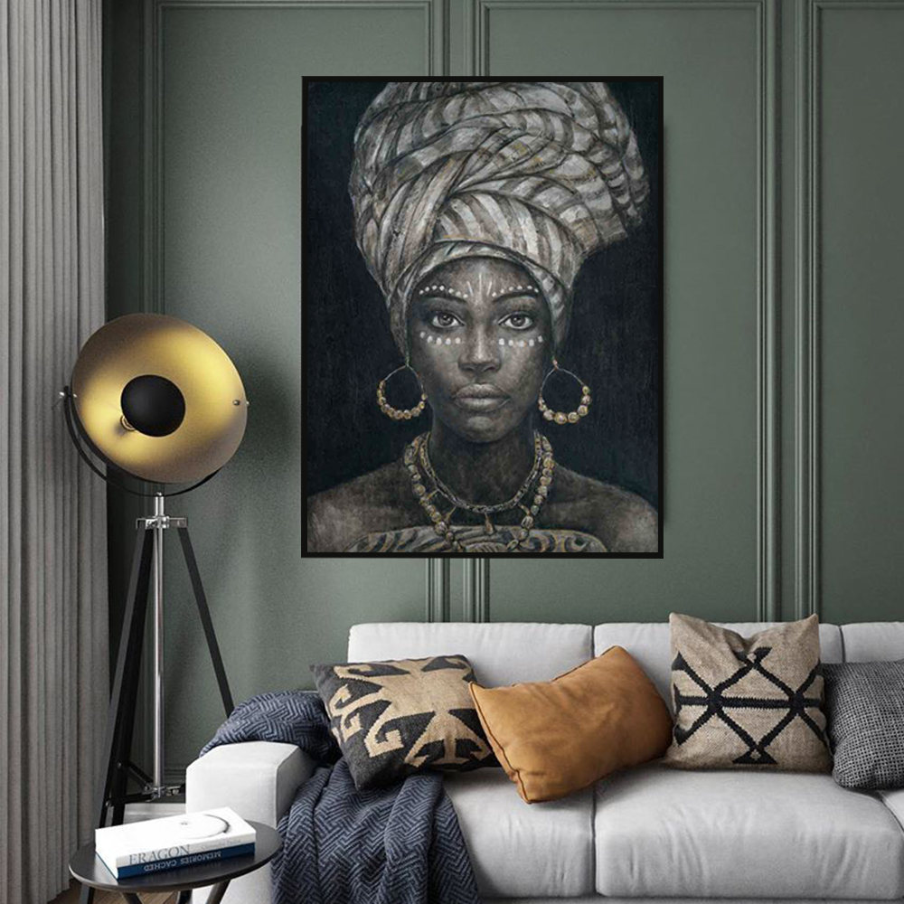Luxury african woman artwork oil paintings for living room decor