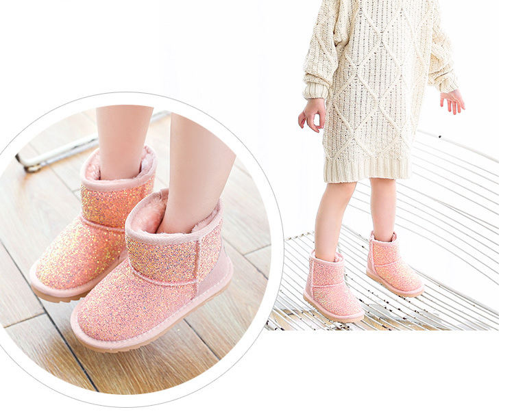 Girls Toddlers Glitter Snow Bling Bling Kids Snow Boots Faux Fur Lining Warm Winter Non-Slip Shoes