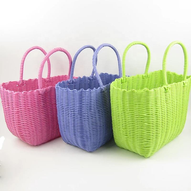fruit vegetable plastic woven shopping storage basket PE tube knitted shopping bag