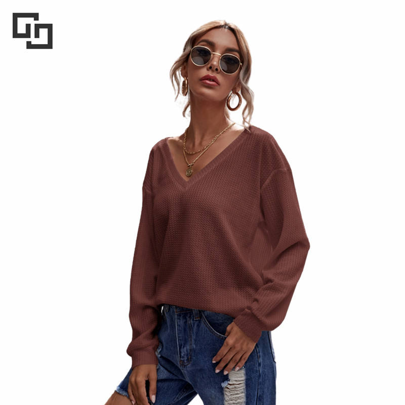 New Product Women's Casual Solid soft Print Matching Long Sleeves Waffle Knit T Shirts Blouse Tops whole sale women sleepwears