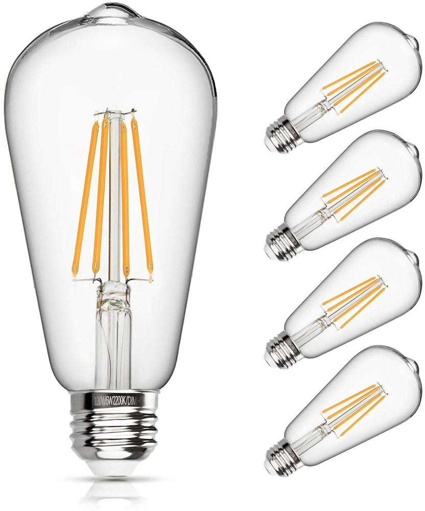 ST64 Led Filament Bulb Dimmable 6W Vintage Led Light Bulb 60W Equivalent 2200K Clear Glass LED Edison Bulb