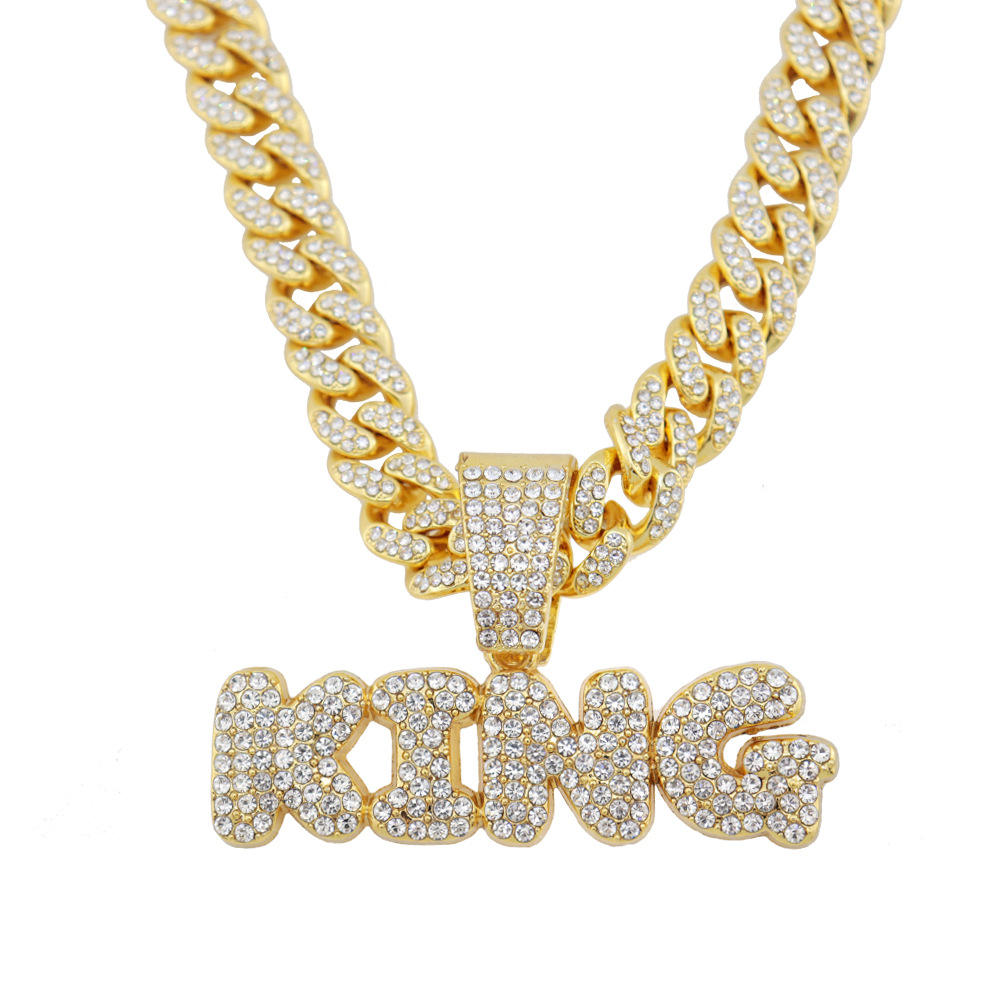 Bling Bling Letter Necklace & Pendant Shiny Ice Out Link Chain Necklace With Tennis Chain Choker Hip Hop Jewelry for Men