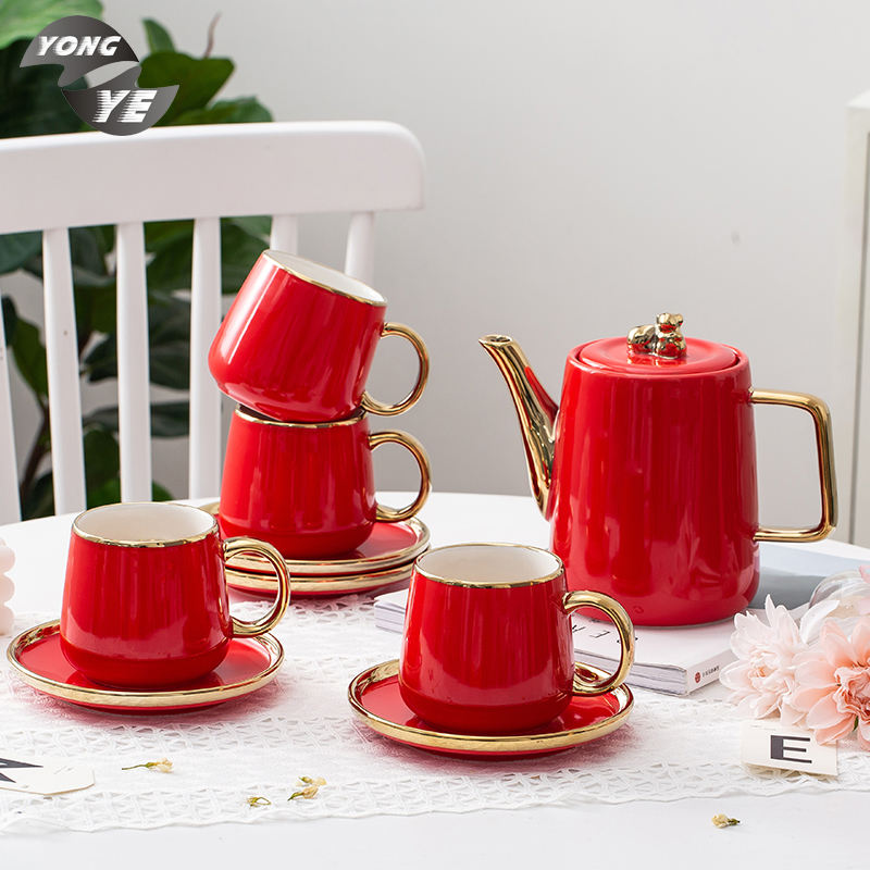 Western style coffee mug red color gold rim simple creative set of five ceramic tea cups and kettle