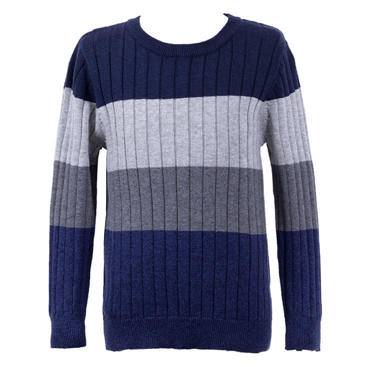 Boy's Cotton Round Neck Stripe Long Sleeve Pullover Sweater