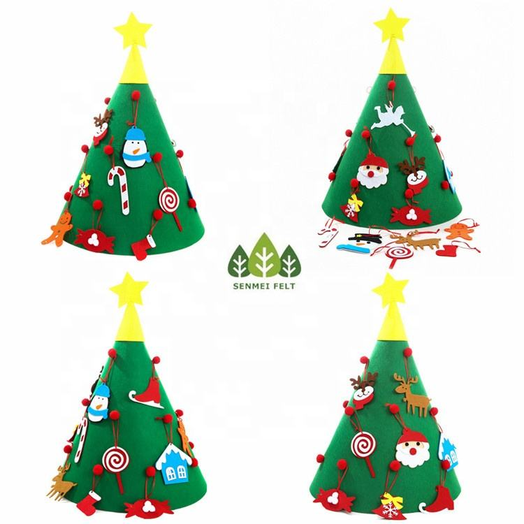 Tree [ Christmas Gifts ] 3D DIY Felt Christmas Tree Set With 18 Hanging Ornaments For For Kids Xmas Gifts