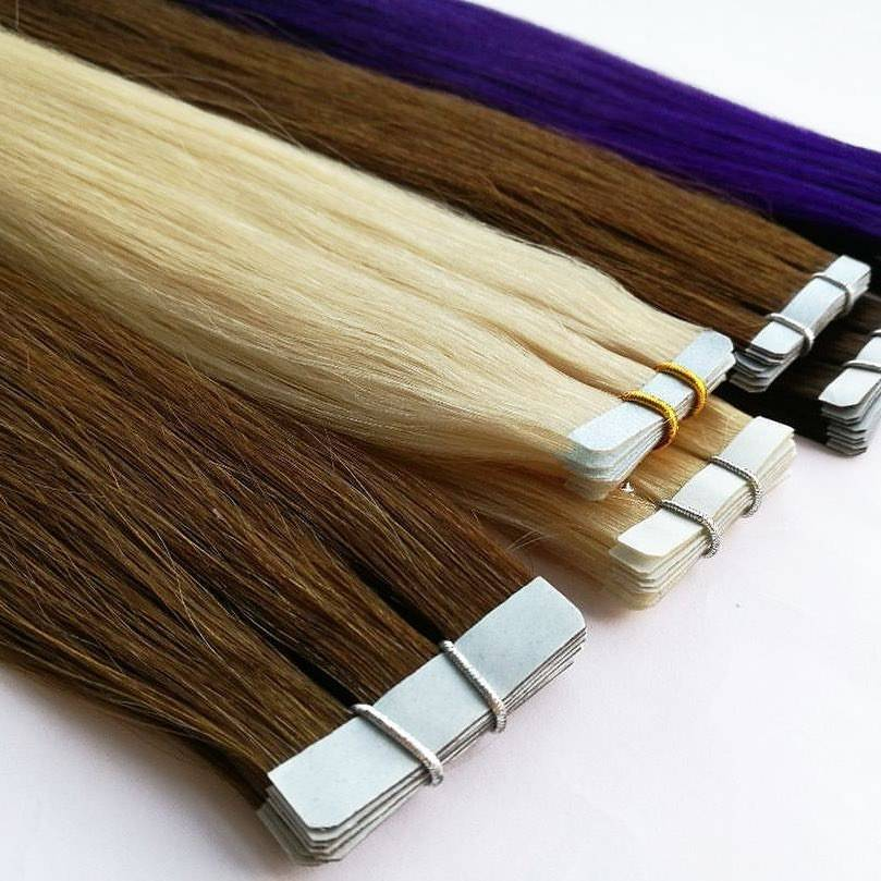Large Stock Top Quality tape hair extensions 100% blonde remy russian human hair tape in hair extension