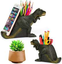 Creative Pen Pencil Holder with Phone Stand, Coolbros Resin Dinosaur Shaped Pen Container Cell Phone Stand