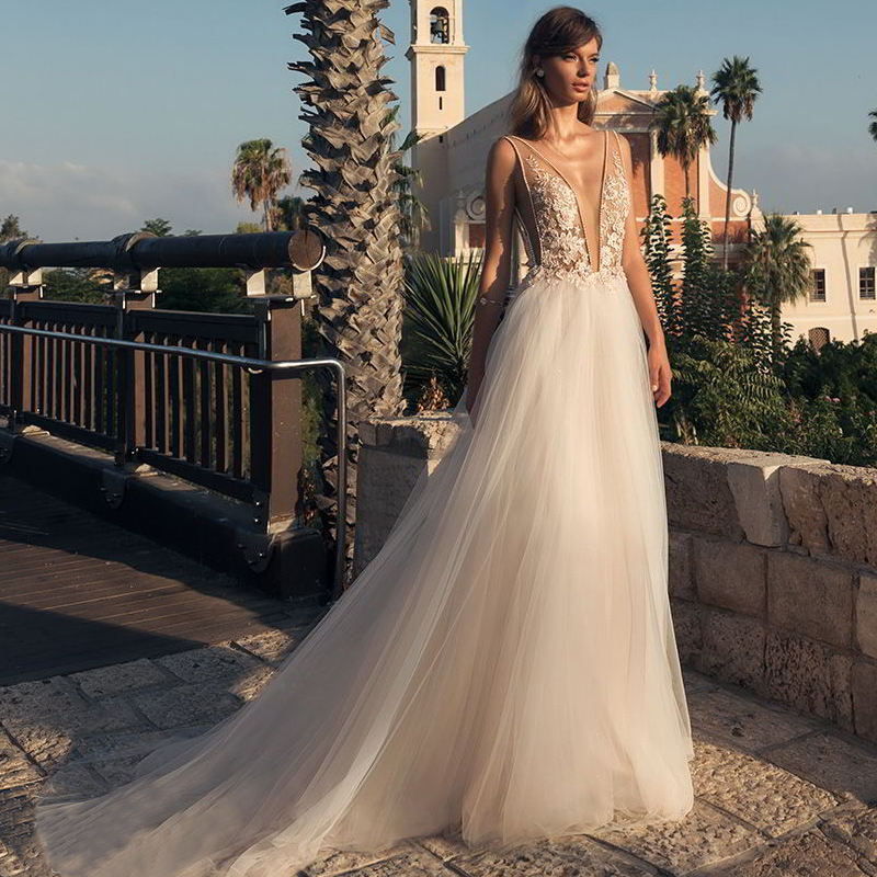 Backless a line v deep neck beaded beach BOHO wedding dress 2020