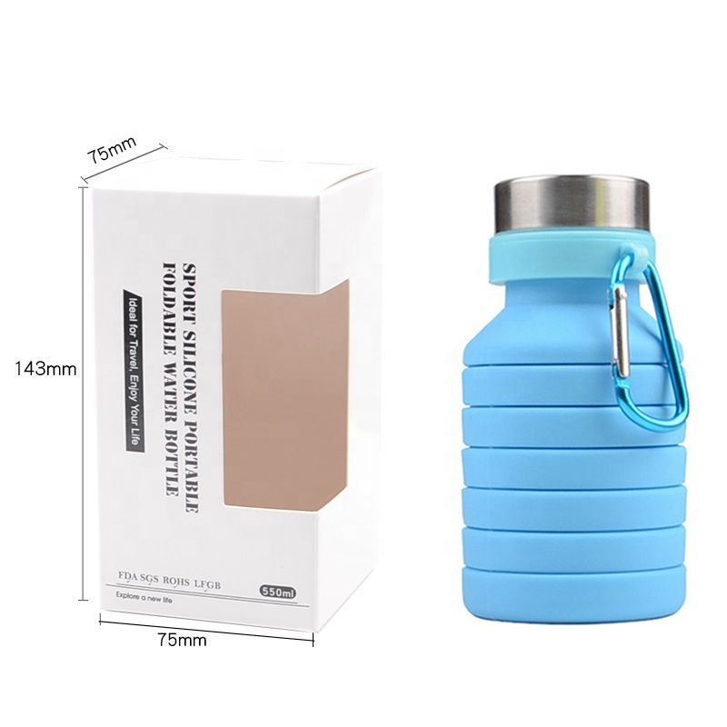 2019 New arrival Collapsible Water Bottle Silicone Lightweight Portable Sports travel mug water bottles sport