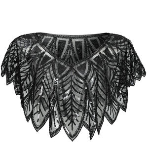 Women's 1920s shawl vintage sequin party evening cape flapper cover up