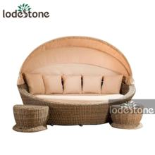 Round PE Rattan Daybed With Retractable Canopy indoor and outdoor furniture