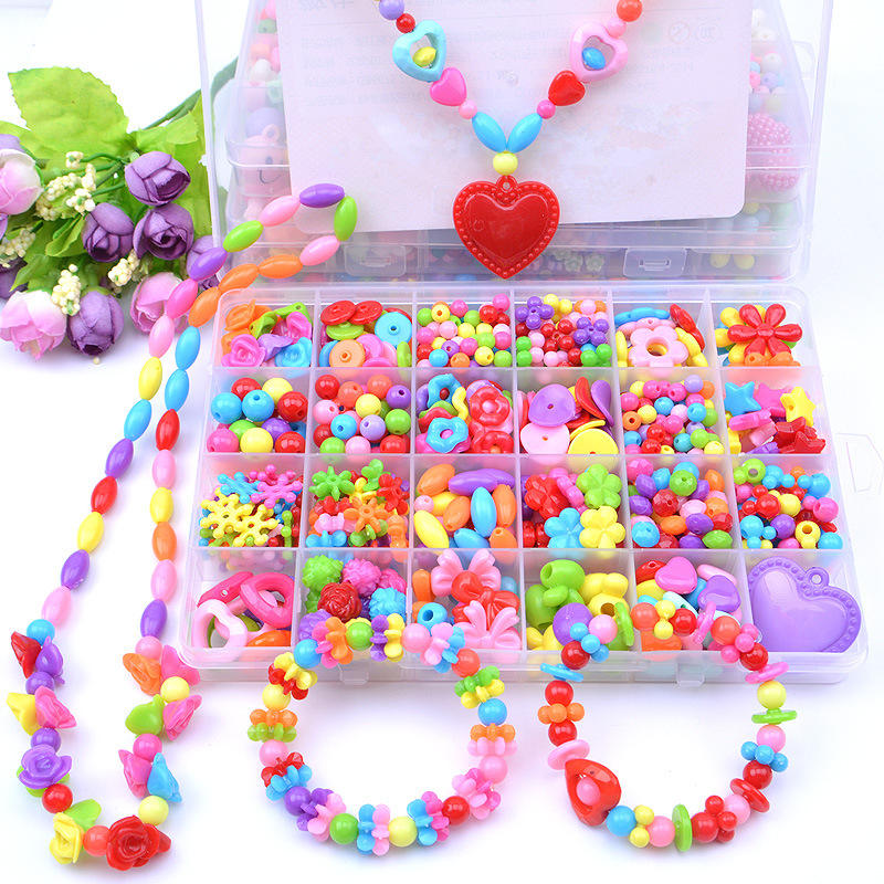 Wholesale Accessory Set Children Creative 24 Grid Girl Jewelry Making Educational Toys Children Gift DIY Handmade Beaded Toy