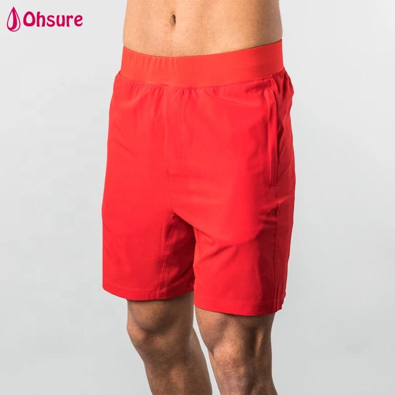 hot sale solid red polyester zipper pockets jogging shorts men sweat workout shorts