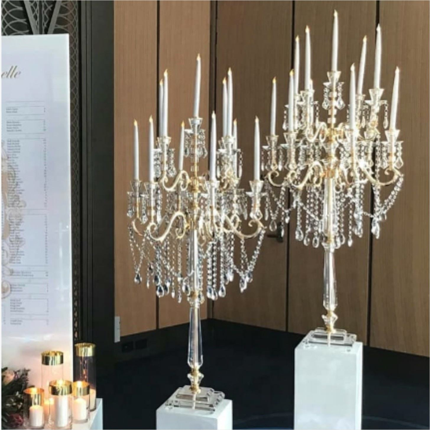 Luxury home decoration crystal gold candelabra 11 arm for wedding table centerpiece