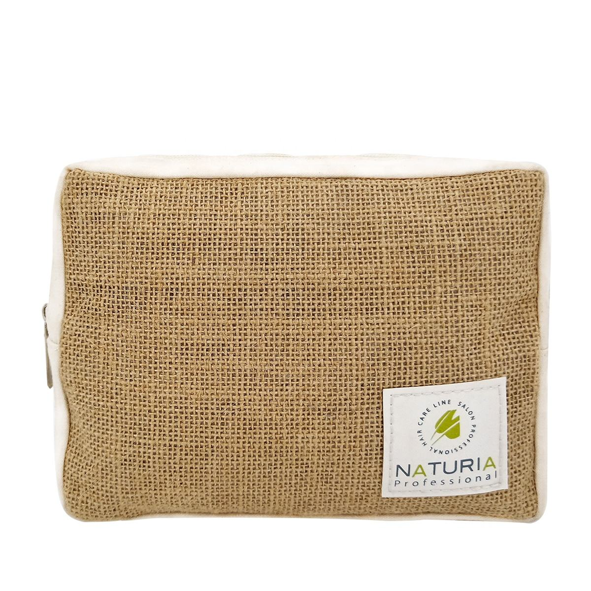 Eco friendly natural jute with cotton cosmetic bag women hemp pouch jute makeup bag for promotion