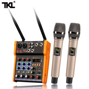 TKL Mixer Audio Bluetooth 4 Saluran, Mixer Suara Audio Digital Daya Phantom 48V Input USB MP3 Nirkabel UHF
