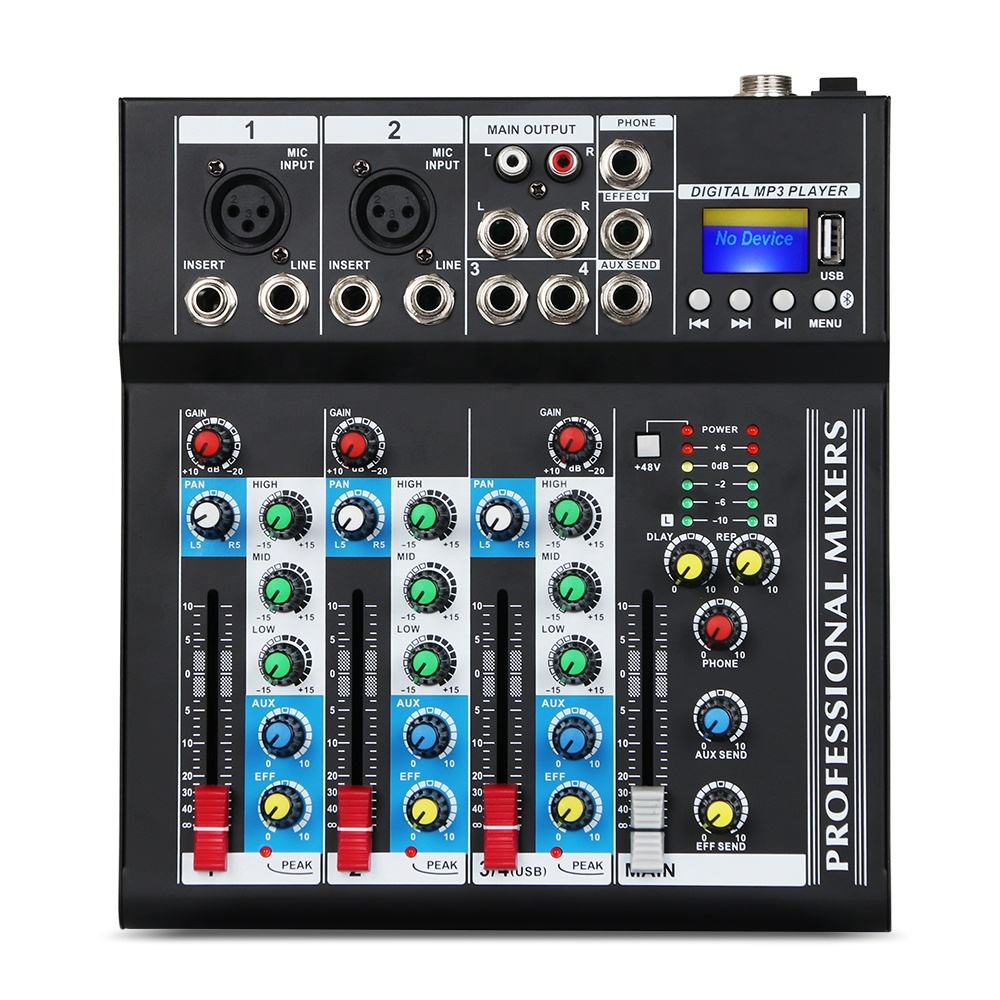 4 Channel USB Audio Mixer Console With Bluetooth Connection