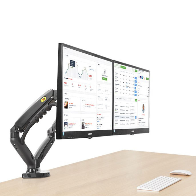 "F160 gas spring 2-9kg 10""-27"" double monitor desktop stand dual arms 360 rotate USB3.0 computer screen holder clamp grommet hole"