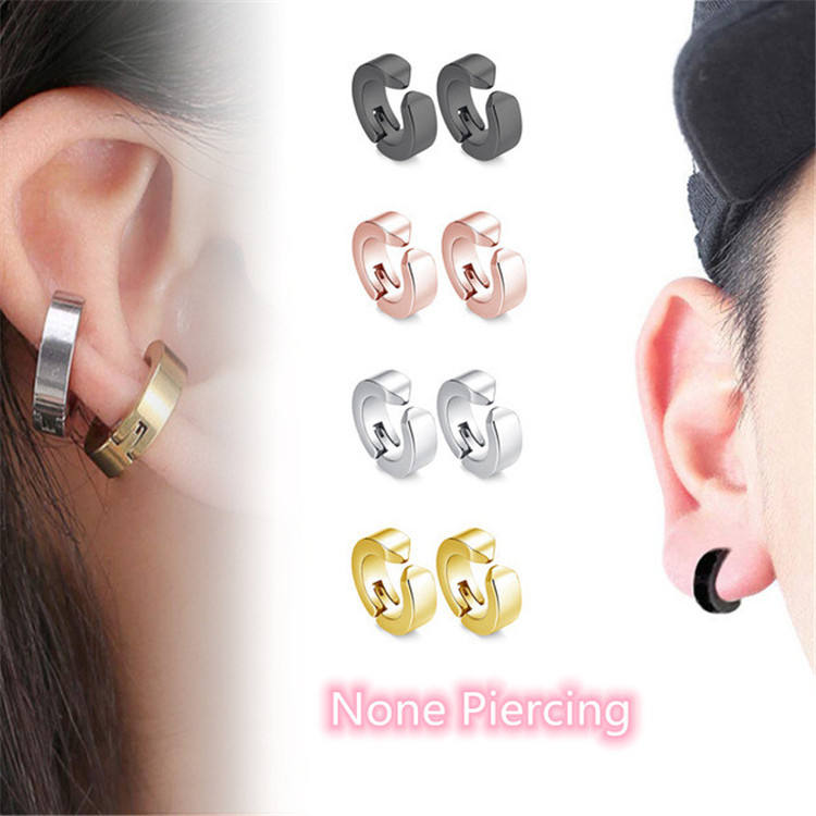 Cheap stainless steel women's No Piercing Earring Magnetic Hoop Earrings For Men