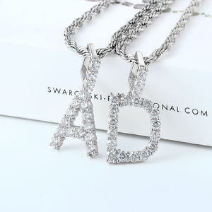 2020 Iced Out Custom Diamond Initial Necklace, CZ Name Tennis Letter Pendant Initial Necklace