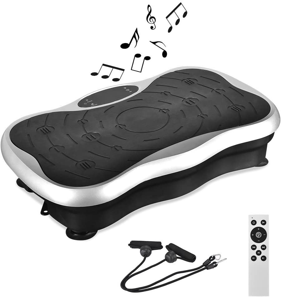 Vibration Platform Exercise Machines,Whole Body Vibration Plate,Crazy Fit Massage Machine with Remote&Bands