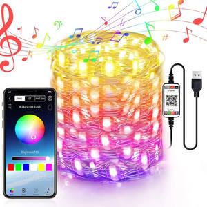 Waterproof Smart RGB Bluetooth APP Controlled LED Copper Wire String Lights Christmas Lights for tree outdoor indoor
