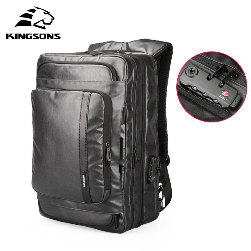 kingsons expandable men's anti-theft travel backpack bag anti theft business laptop travel backpack with shoulder strap