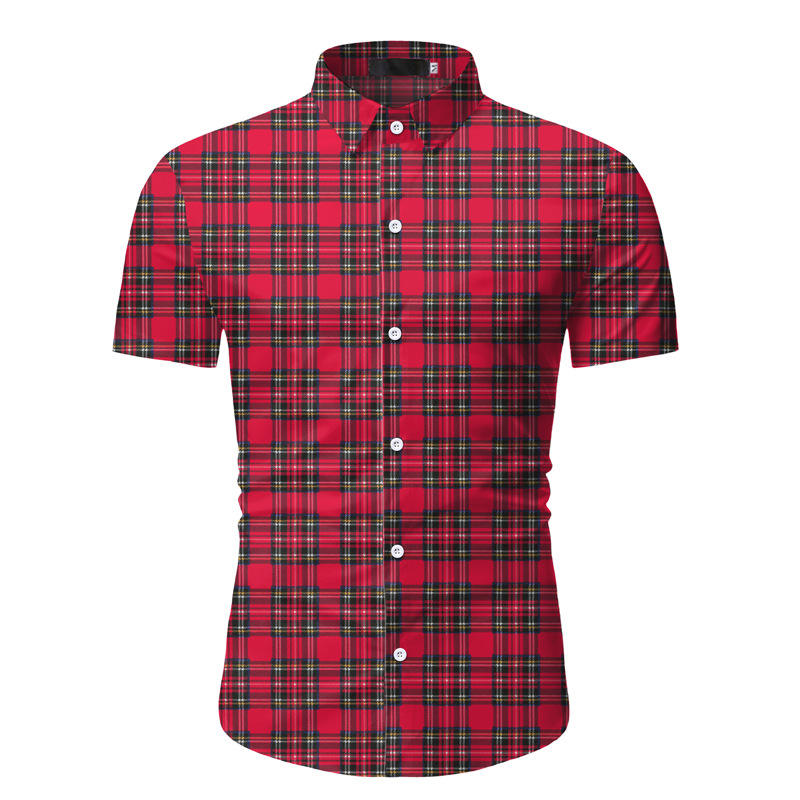 Wholesale low price summer men's short sleeve shirt leisure plaid business dress shirt