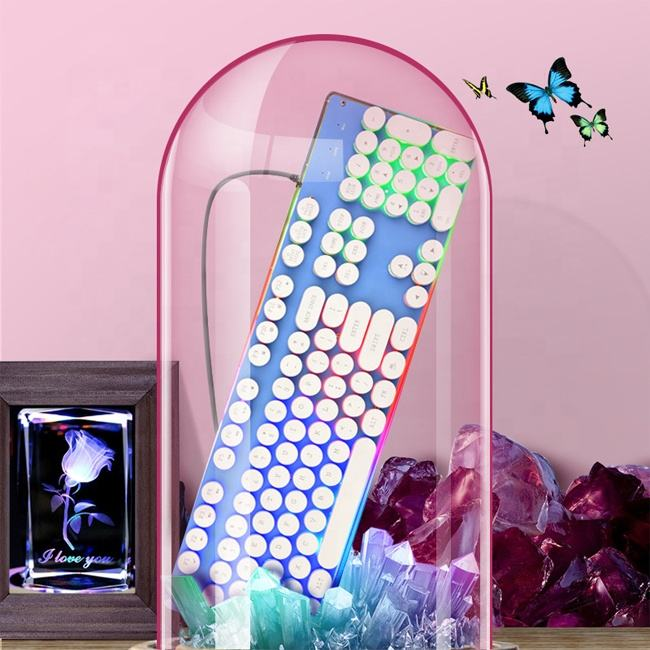 Gift retro crystal keycap manipulator cool rainbow gaming keyboard glow office business computer wired punk round key keyboard