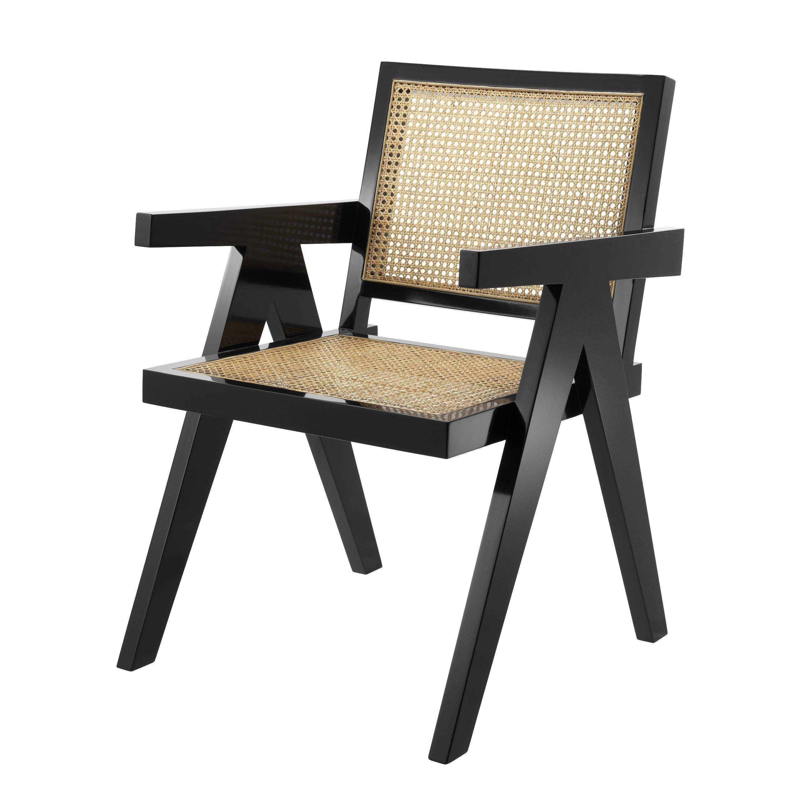 Stylish Tropical Armrest Dining Chair With Natural Cane And Black Finish On Sell