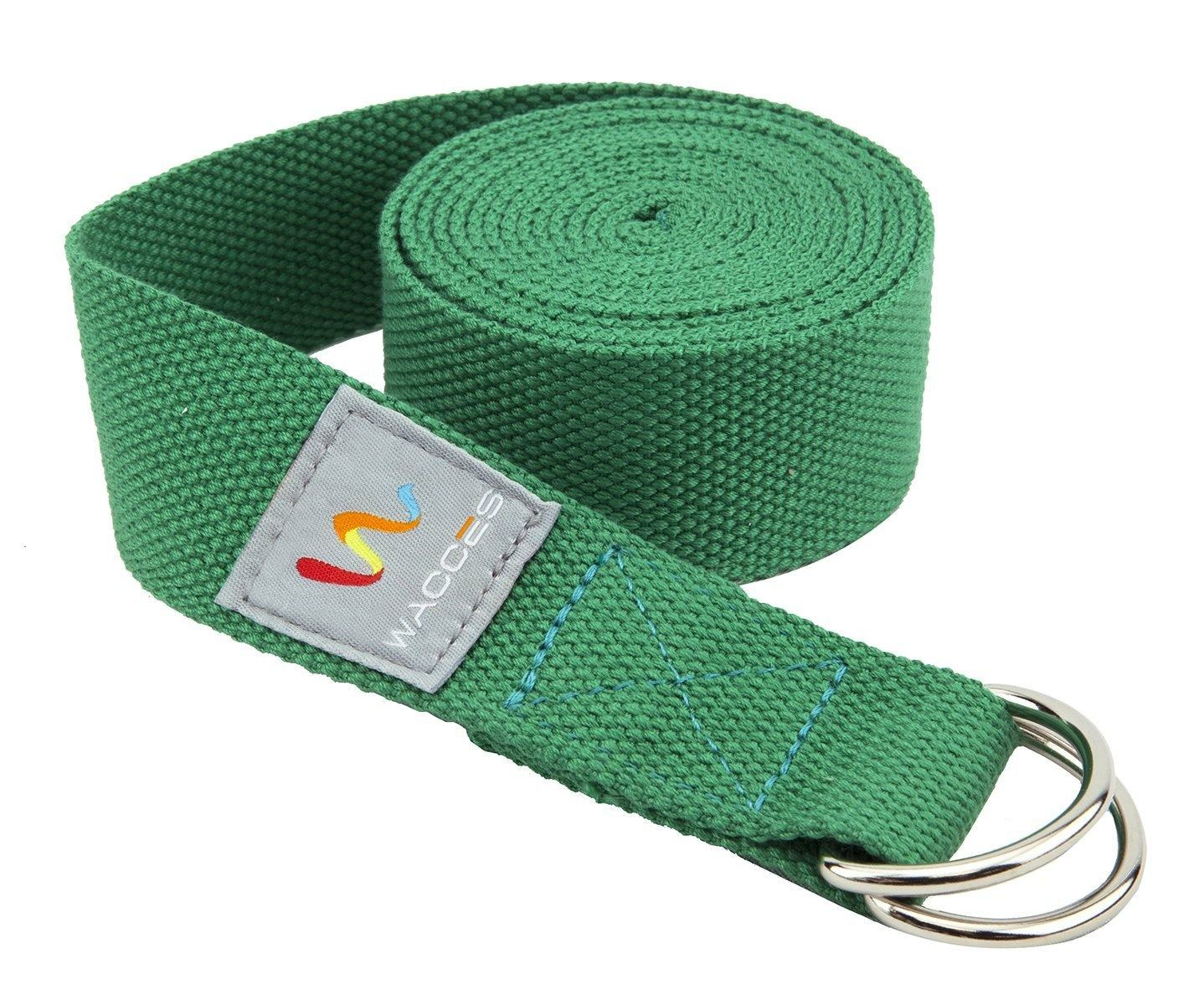 Hot selling gym accessories custom logo home fitness yoga stretch strap with metal rings