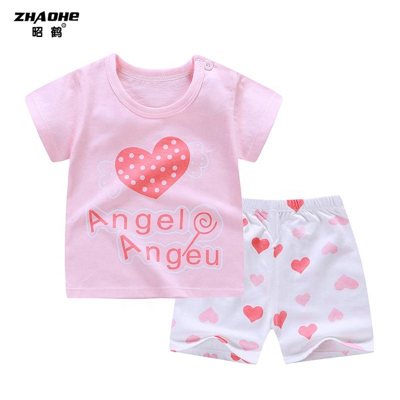 Graphic Customization Cotton Summer Baby Children Suit T-shirt Kids O-neck Round Outfit Boy and Girl Clothing Sets