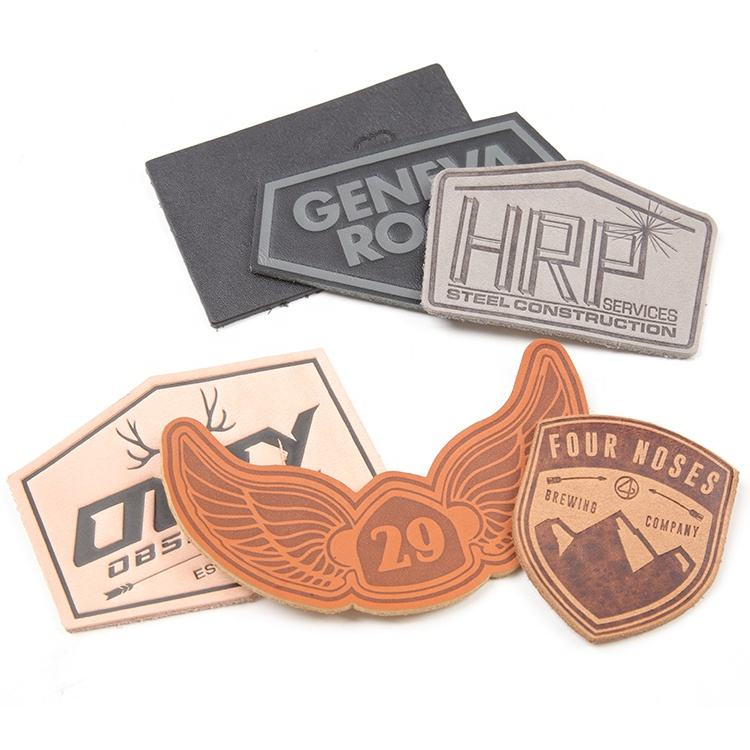 Jeans Clothing Labels Manufacturer Custom Logo Embossed Real Genuine Leather Patches for Hats