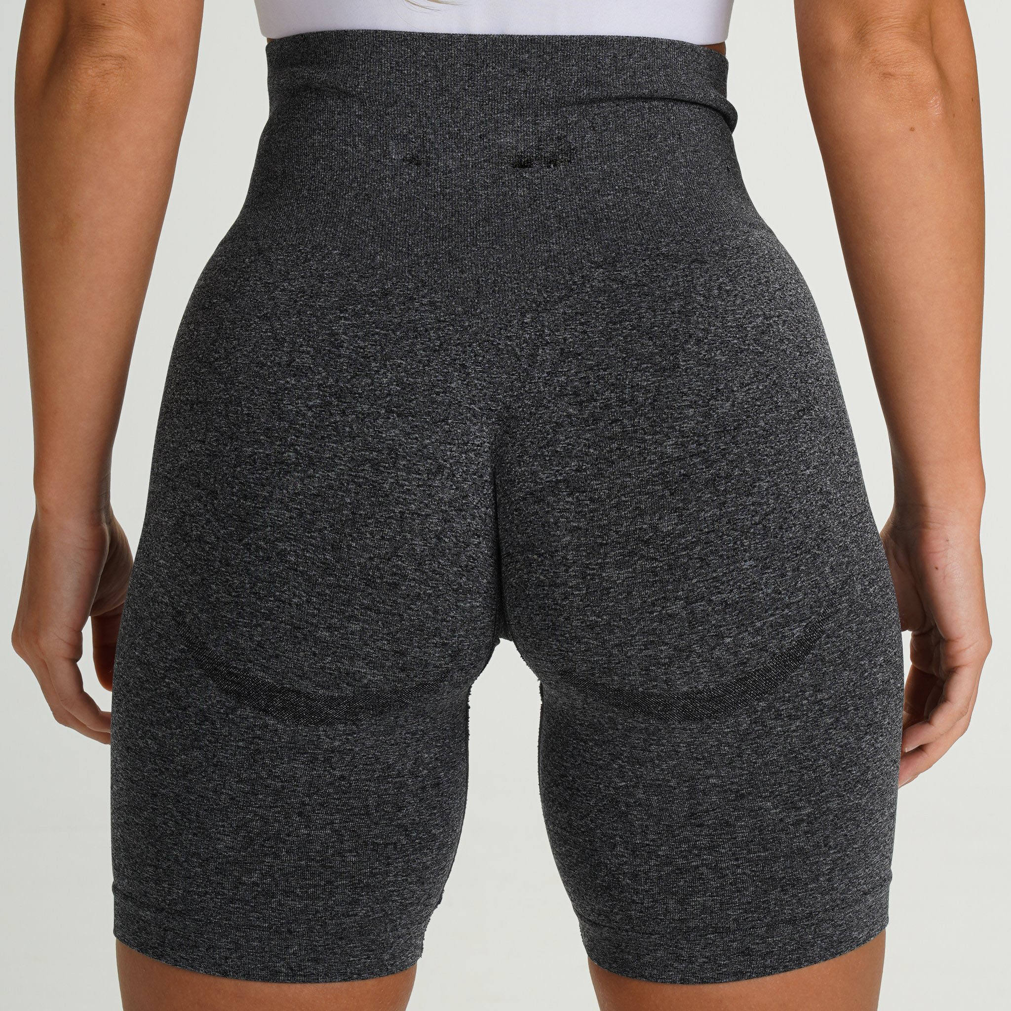 Activewear Black Outfit Contour Butt Lift Speckled Compression Biker Workout fitness Gym wear seamless high waisted shorts women