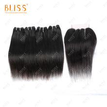 Bliss Himalaya 4+1 Brazilian Hair Bundles Cuticle Aligned Hair Straight 4 Bundles with Closure Cheveux Meche Bresilienne