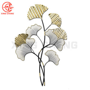 Luxury gold metal iron wire ginkgo tree leaf leaves wall hanging art for home decor