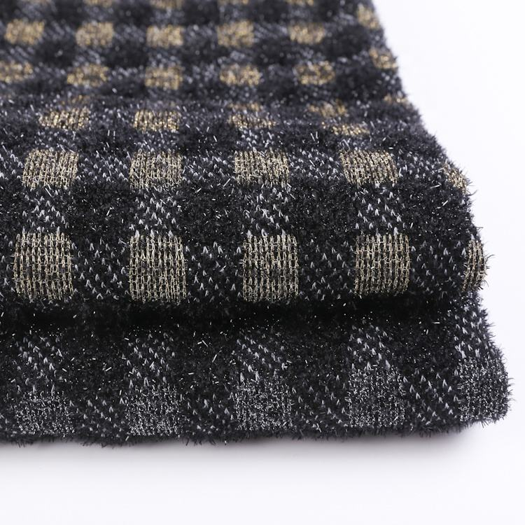High grade custom checkered spandex check mohair sweater polyester knitted fabric for greatcoat