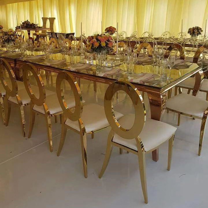 designs glass metal legs stainless steel wedding coffee dining table set 6 chairs