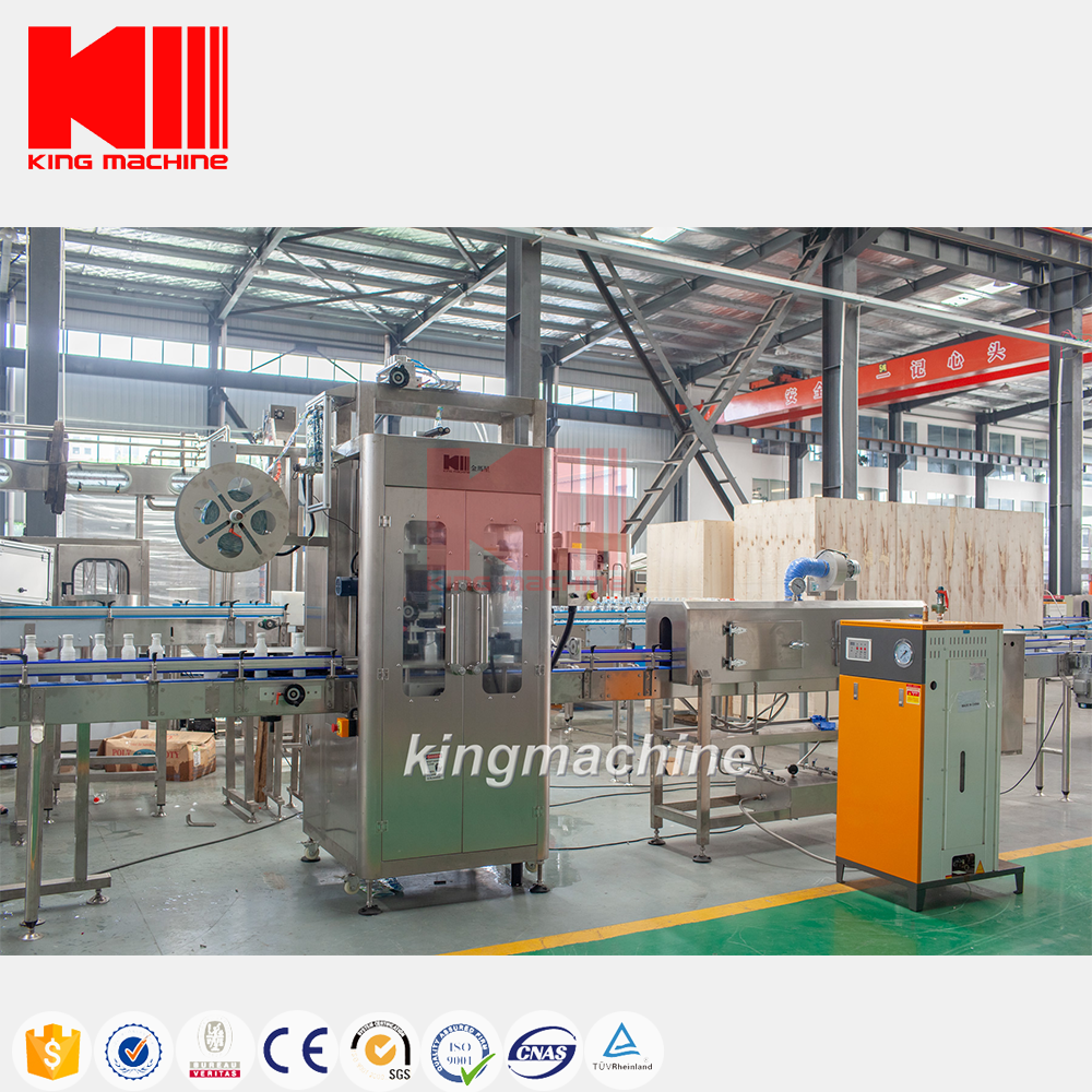 King Machine Automatic PVC Shrink Sleeve Labeling Machine For Water Juice PET Glass Bottle