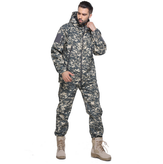 HBSP09 Shark skin military combat hunting softshell jacket+ pants suit inside fleece liner tactical outdoor sports ski wear