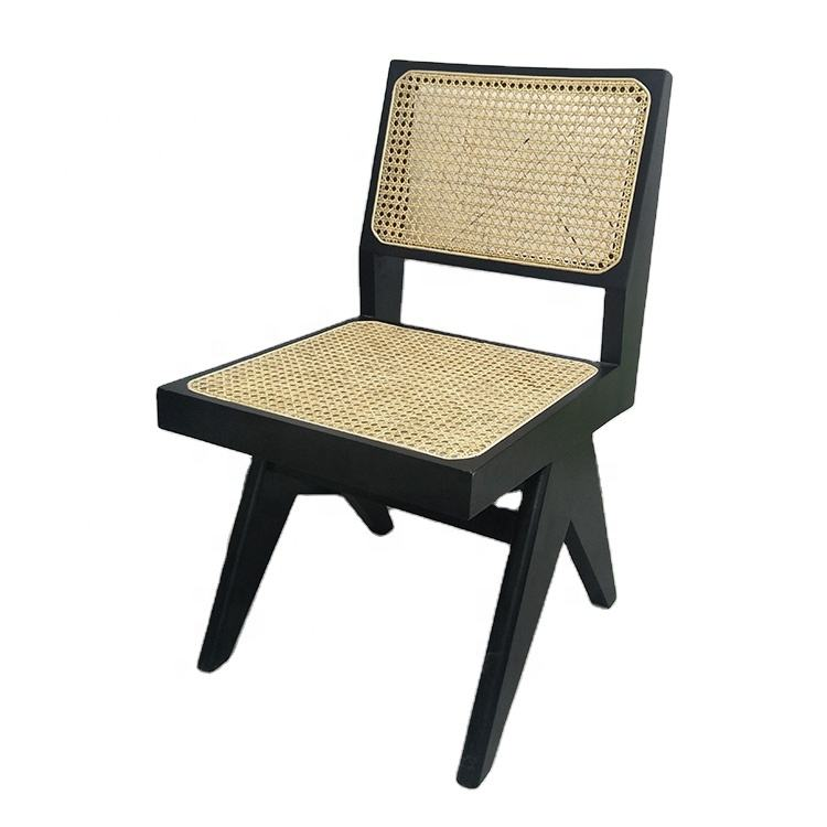simple design pierre jeanneret le corbusier chair solid wood cane rattan dining chair for sale
